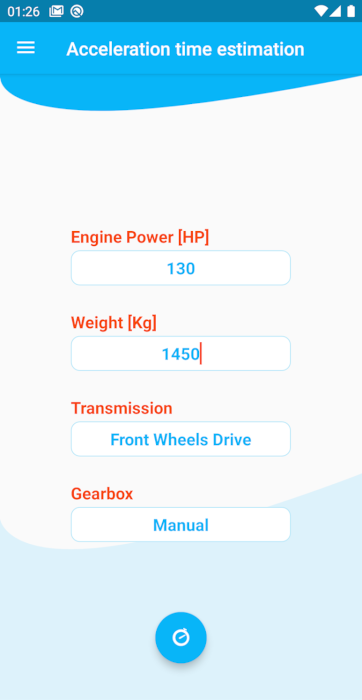 Acceleration time estimation Android Application - Acceleration Time Estimation (0 to 100 Km/h) using basic information on the car <br> https://play.google.com/store/apps/details?id=ro.gliapps.zerotosixty